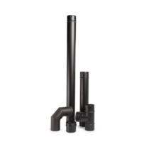 Rozsdamentes, 5 db-os pellet kályha füstcsőkészlet - fekete (80 mm)