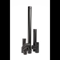 Rozsdamentes, 7 db-os pellet kályha füstcsőkészlet - fekete (80 mm)